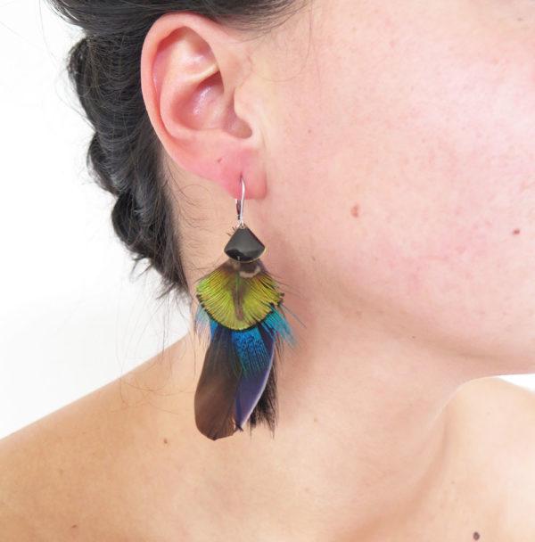 boucle-d'oreille-plume-naturelle-noir-argent-
