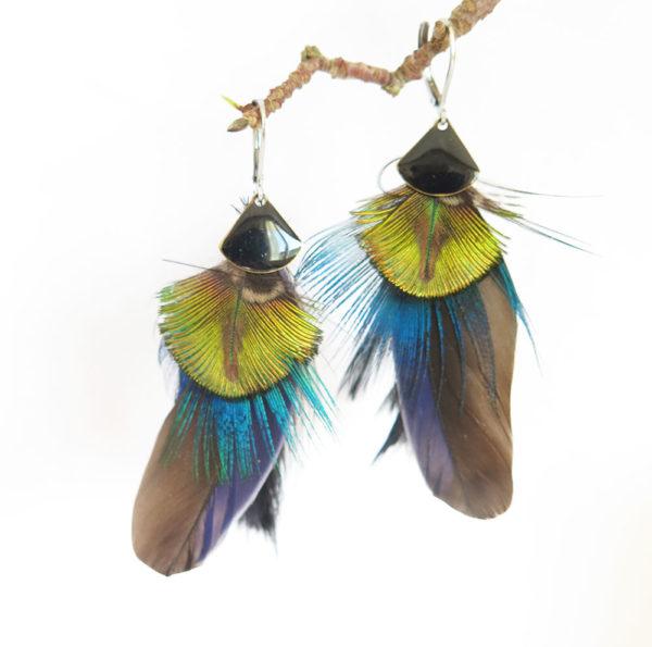 boucle-d'oreille-plume-naturelle-noir-argent
