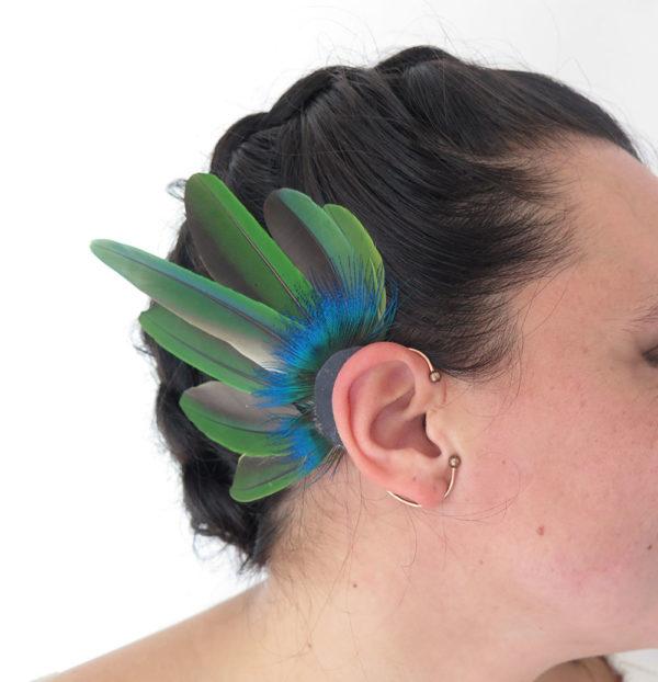 ear-cuff-plume-naturelle-verte-tropical-