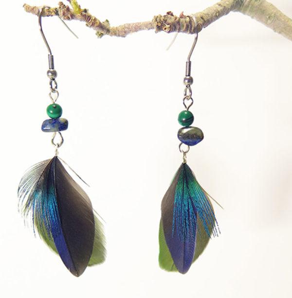 petite-boucle-d'oreille-plume-bleu-mineraux